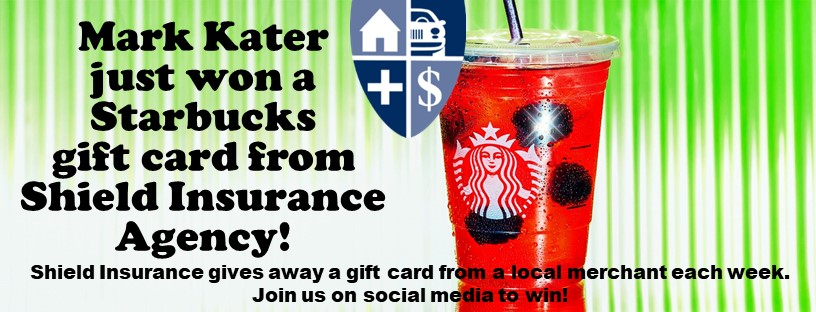 Gift Card Winner from Shield Insurance Agency serving Michigan, Ohio and Illinois